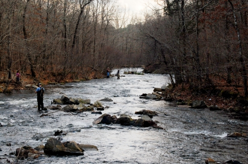 The Lower Mountain Fork River, located in southeast Oklahoma, is known for its rainbow and brown trout. In fact, the state record brown trout was caught in this river.