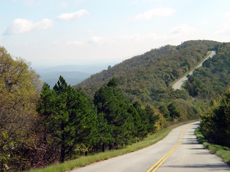The Talimena National Scenic Byway snakes across the tops of ancient mountains in southeastern Oklahoma.