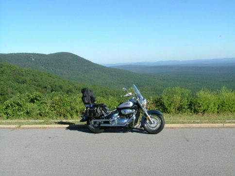 A view from one of the vista turnouts on the Talimena Skyline Drive in southeastern Oklahoma.  This scenic route draws motorcycle enthusiasts from across the country who enjoy its winding curves.