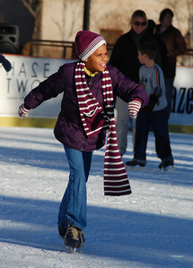 During Oklahoma City's Downtown in December celebration, an outdoor ice skating rink draws families and skaters of all ages and skill levels for an enjoyable spin on the ice.