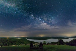 A starry night over Carlton Landing on the shore of Lake Eufaula.