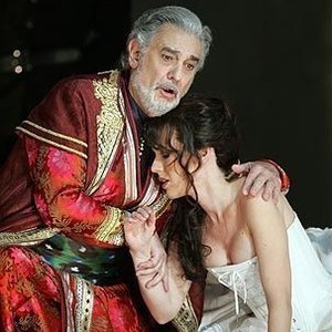 Sarah Coburn with Placido Domingo in the Los Angeles Opera's production of Tamerlano
