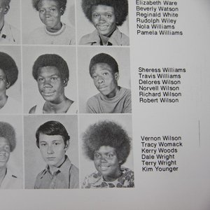 Robert Wilson appears on the far right in the middle row in the Booker T. Washington High School yearbook as a sophomore.