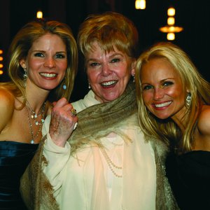 Broadway stars Kelli O'Hara and Kristin Chenoweth pose for a photo with their college professor and mentor, Florence Birdwell.