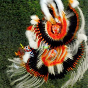 Traditional American Indian regalia is worn by dancers at the Standing Bear Powwow in Ponca City.