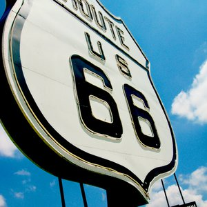 A large eye-catching Route 66 sign welcomes visitors to the National Route 66 Museum in Elk City.