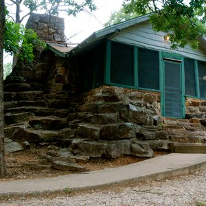 The lake cabins at Greenleaf State Park near Braggs were built by the Civilian Conservation Corps and Works Progress Administration in the 1930s.