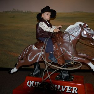 A mechanical horse at the Chisholm Trail Heritage Center in Duncan is the perfect mount for little cowboys and cowgirls to practice roping from.