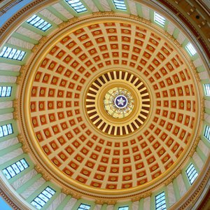 The fourth-floor rotunda is the best place to view the Oklahoma State Capitol's dome with its brilliant reds, golds and blues set in a dazzling geometric design.