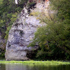 Elephant Rock can be viewed while paddling a kayak on the Illinois River near Tahlequah.