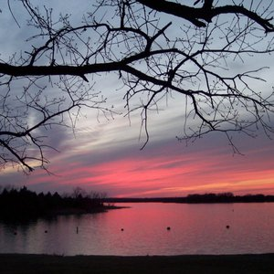 Keystone State Park near Sand Springs offers up a beautiful sunset.