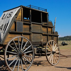 An authentic stagecoach stands on the grounds of Hitching Post Lodging & Ranch in Kenton. Guests can stay at the ranch and enjoy horseback riding in the great outdoors.
