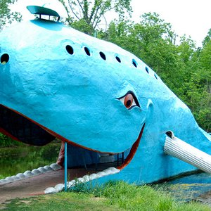 Catoosa's Blue Whale is one of the most recognizable Route 66 roadside icons and is featured in guidebooks around the world.  Once a favorite swimming hole, the site now offers a nostalgic photo-op along the Mother Road.