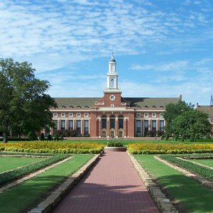 The library and formal gardens on the Oklahoma State University campus in Stillwater.