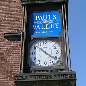 Downtown Pauls Valley features brick streets and charming architecture.