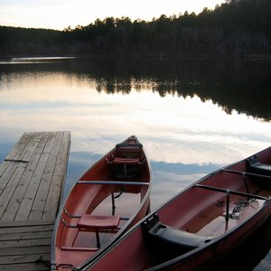 Canoeing is a popular activity on Lake Carlton at Robbers Cave State Park.  Canoe and paddleboat rentals are available at the lake to help guests enjoy the area.
