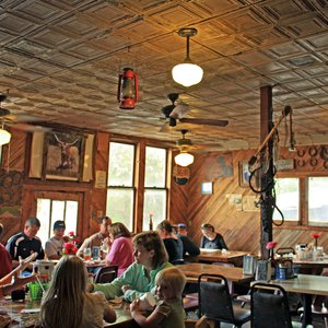 The quaint, Old West atmosphere of Meers Store & Restaurant draws visitors from far and wide to enjoy the famous longhorn burgers.