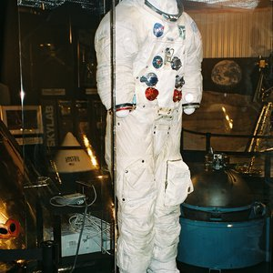 This space suit, on loan from the Smithsonian Institution, was worn by General Thomas P. Stafford during the Apollo 10 mission and is on display at the Stafford Air & Space Museum in Weatherford.