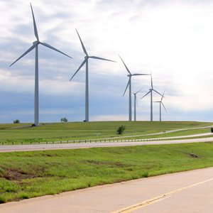 The Weatherford Wind Energy Park features several monumental wind turbines that generate millions of watts of electricity by harnessing the power of Oklahoma's prairie winds in western Oklahoma.