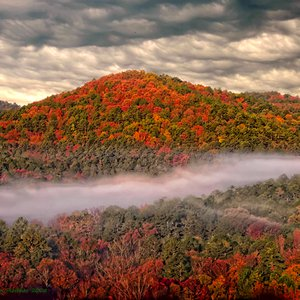 Mist enshrouds the hills of Beavers Bend State Park in Broken Bow creating spectacular scenery on a fall day.