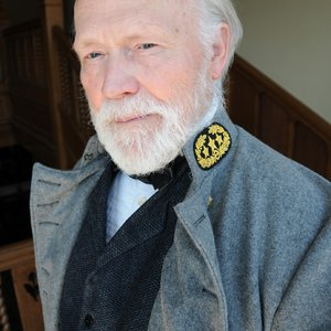 Ted Kachel as Robert E. Lee for the 2010 Oklahoma Chautauqua. As an historical interpreter, Kachel utilizes the skills he developed over 40 years of teaching humanities and theater at colleges across the midwest.