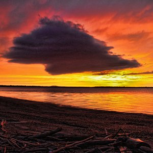 A dazzling sunset over Lake Eufaula paints a fiery portrait.