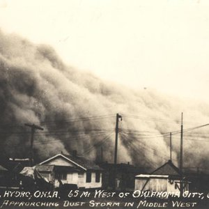 A dust storm engulfs Tirks Court in Hydro during the Dust Bowl of the 1930s.