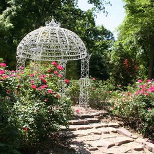 The crowning jewel in the American Backyard Garden at Lendonwood Gardens in Grove is the gazebo surrounded by blooming roses.