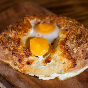 The khachapuri, an Eastern-European pull-apart bread filled with cheese and eggs at Bramble Breakfast & Bar.