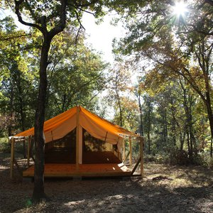 Osage Hills State Park in Pawhuska features unexpected natural treasures like wall tents composed of canvas walls and a porch.