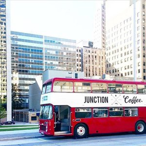Catch the Junction Coffee double decker bus around Oklahoma City for a unique food truck experience.