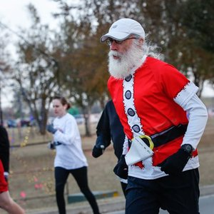 Runners at the Chill Your Cheeks 5K are encouraged to wear their festive holiday gear.
