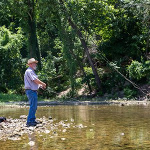 See if you can reel in white bass while fishing at Spavinaw Area at Grand Lake State Park. Photo by Megan Rossman.