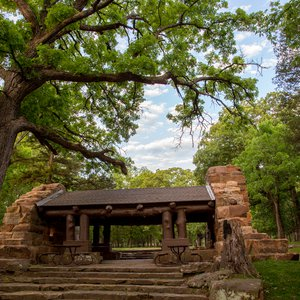 The historic shelter provides a beautiful backdrop at Osage Hills State Park. Photo by Lori Duckworth.