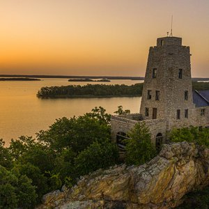 Watch from historic Tucker Tower as the sun sets over Lake Murray State Park. Photo by Shane Bevel.