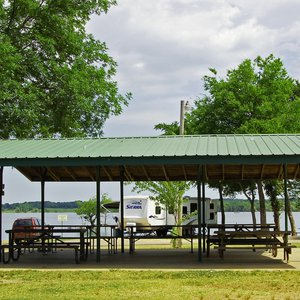 A lakeside picnic pavilion for larger groups.