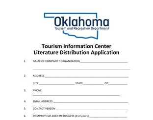 Oklahoma Tourism Information Centers - Literature Distribution Application