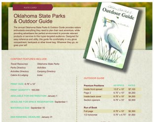 Oklahoma State Parks & Outdoor Guide Rate Card