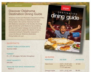 Discover Oklahoma Destination Dining Guide Rate Card