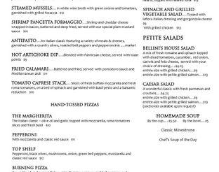 View Bellini's Dinner Menu