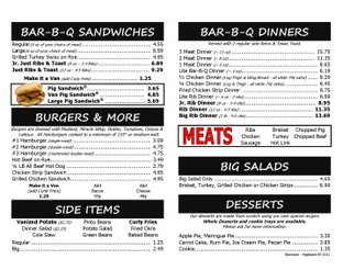 View Van's Pig Stand Menu