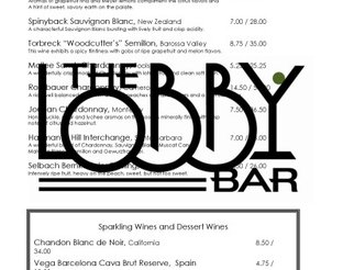 View Lobby Cafe & Bar Wine Menu
