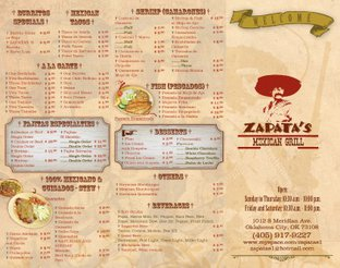 View Zapata's Mexican Grill Menu