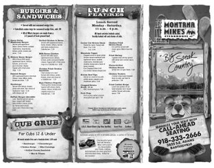 View Montana Mike's Steakhouse Menu