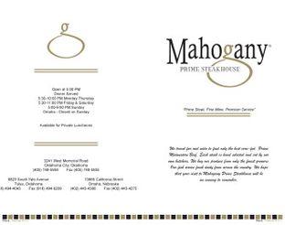 View Mahogany Prime Steakhouse Menu