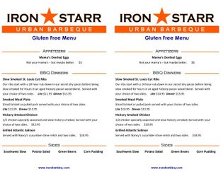 View Iron Starr Urban Bar-B-Q Gluten Free Menu