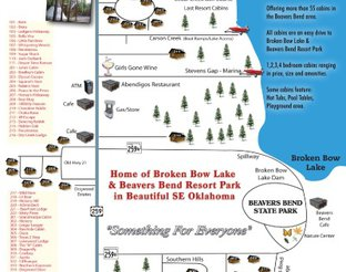 View Beavers Bend Lodging Cabin Map