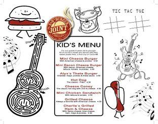 View S&B's Burger Joint Children's Menu