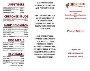 View Cherokee Restaurant Menu