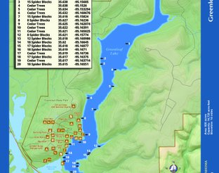 Greenleaf Lake Map with Fishing Attractors